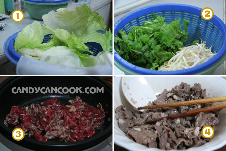 Prepare the ingredients to make Rolling Vietnamese Pho (Pho cuon)